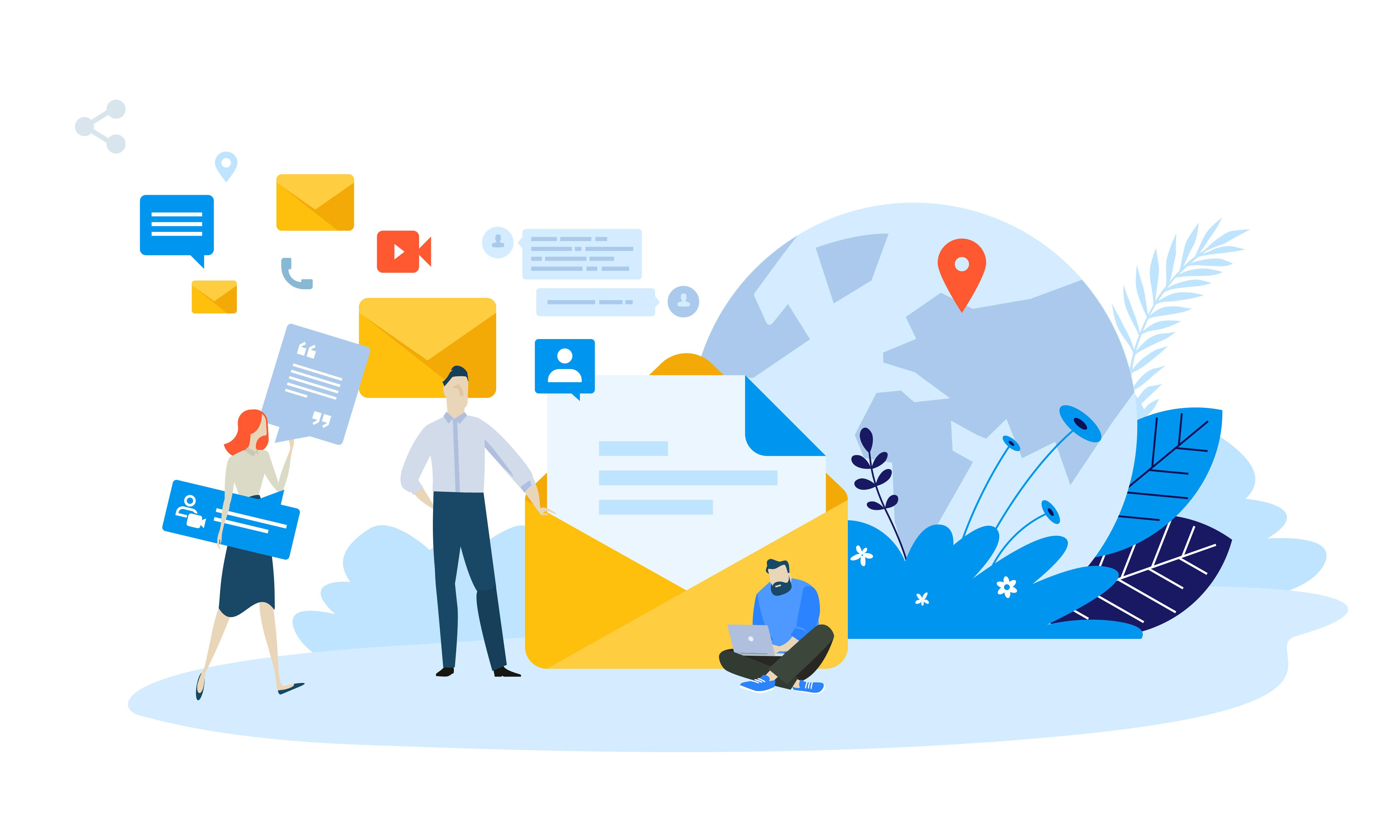 Vector illustration concept of email marketing. Creative flat design for web banner, marketing material, business presentation, online advertising.